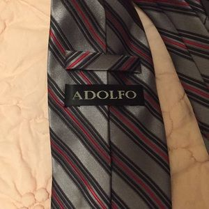 Adolfo Accessories - Striped red green grey tie